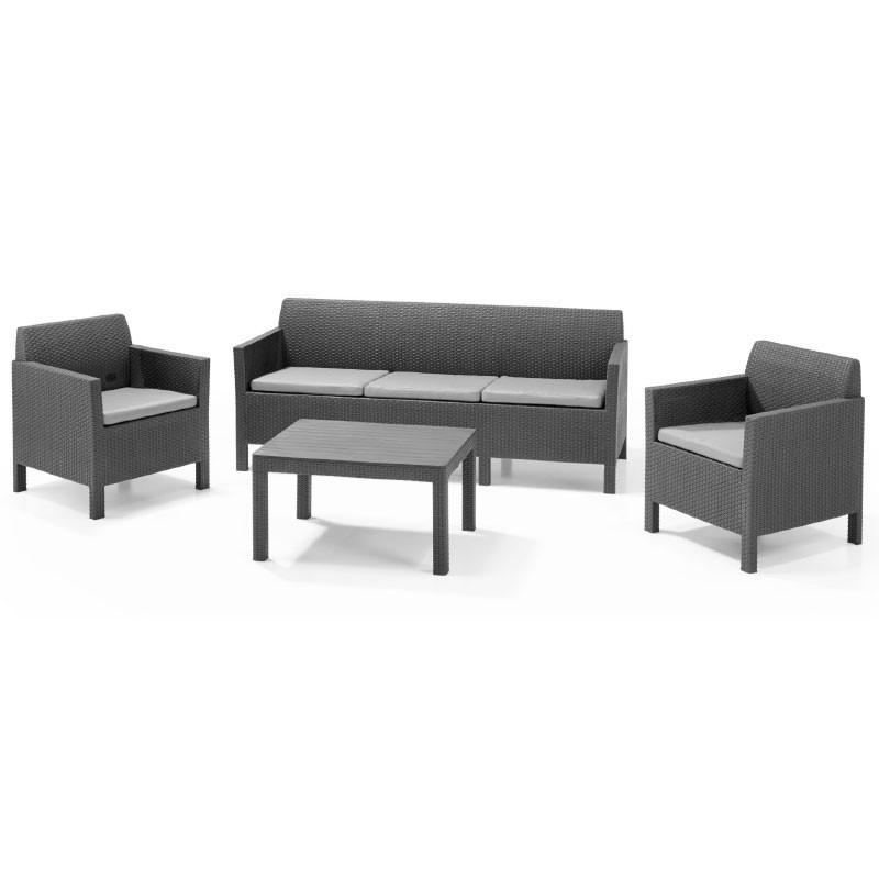 Orlando Set With 3 Seat Sofa (графит)