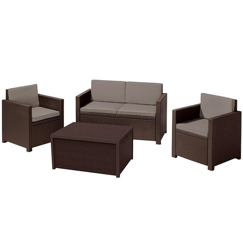 Monaco Set With Storage Table (коричневый)